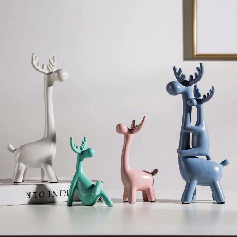 Креативная Керамическая маленькая декоративная фигурка животного олень украшение домашнего декора керамическое ремесло творчества