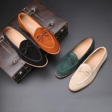 Yomior zapatos de cuero de vaca de cuero Real de los hombres zapatos de vestir formales Vintage zapatos de oficina de negocios mocasines de gran tamaño zapatos casuales de boda