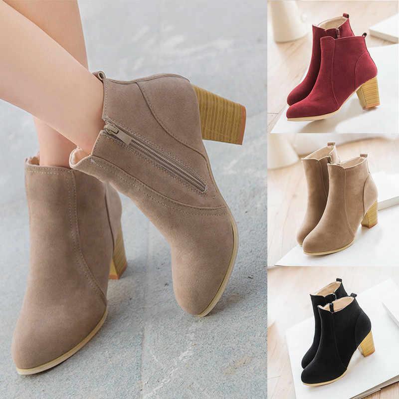 SFIT 2019 Phụ Nữ Boot Đàn Mắt Cá Chân Giày Nữ Thu Đông Boot Nữ Đảng Tây Vải Co Giãn Giày Plus Size 35 -42