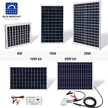 Kit de Panel Solar ECO-WORTHY, 10W, 25W, 30W, 12V, batería de Carga...
