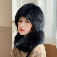 Lantafe Hat And Scarf Hat Fox Fur Suit Fluffy Hair Scarf Ring Winter Accessories Warm Multi piece Knitted Lining Stripe Weave