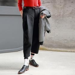 [Morihiro] 2019 Neue Produkte Herbst Und Winter Wolle Woolen Hosen frauen Capri Abnehmen Kegel Lose-Fit baggy Hosen 8728