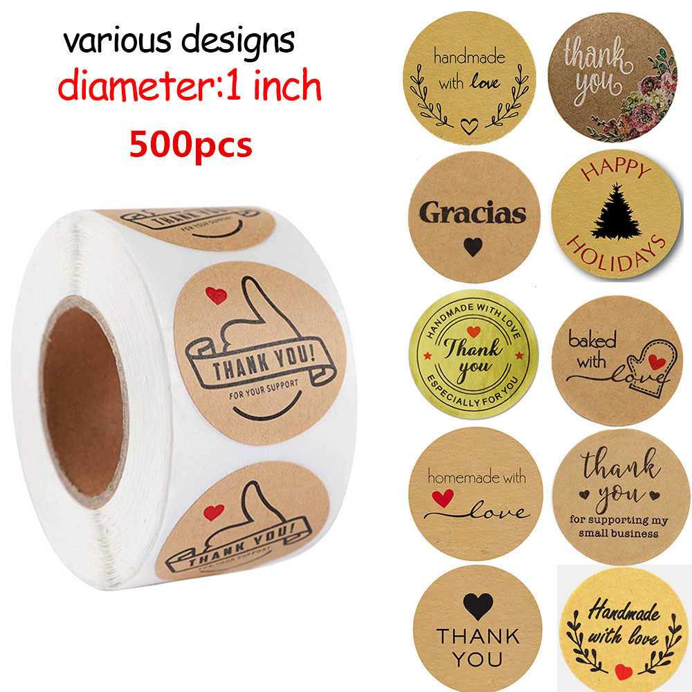 500pcs Multi-styles Handmade with Love Sticker Floral Thank You Labels Stickers For Baking/Wedding/P