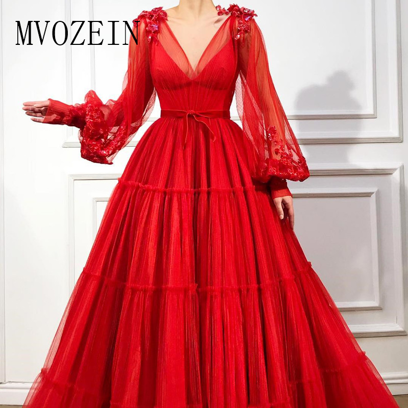 Abendkleider Red Evening Dresses Tulle A-Line V-Neck Full Sleeves Sequin Flower Appliques Long Evening Dress Robe De Soiree