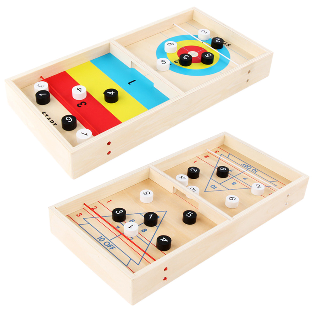 Double-sided Wooden Mini Ice Fox Ball Tabletop Shuffleboard Game Educational Toy For Children Family Entertainment Board Game