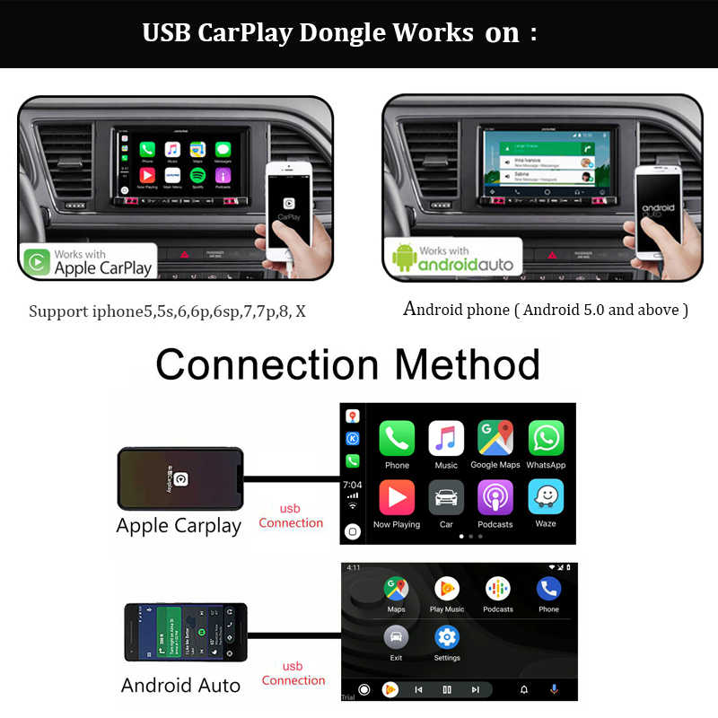 Carlinkit USB Apple CarPlay Dongle et téléphone Android Android Auto pour écran tactile d'écran de voiture Android avec système de Carplay iOS