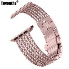 Toyouths 애플 시계 밴드 iwatch 여성 메쉬 루프 스테인레스 스틸 교체 금속 뷰티 스트랩 38/40mm 42/44mm