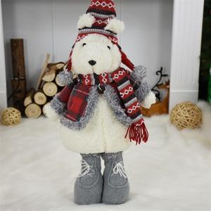 Image 4 - 2 шт./лот, подарок на Новый год, Рождество, день рождения, милый плюшевый медведь, куклы, Рождественское украшение для дома, офиса, прекрасные стоячие игрушки