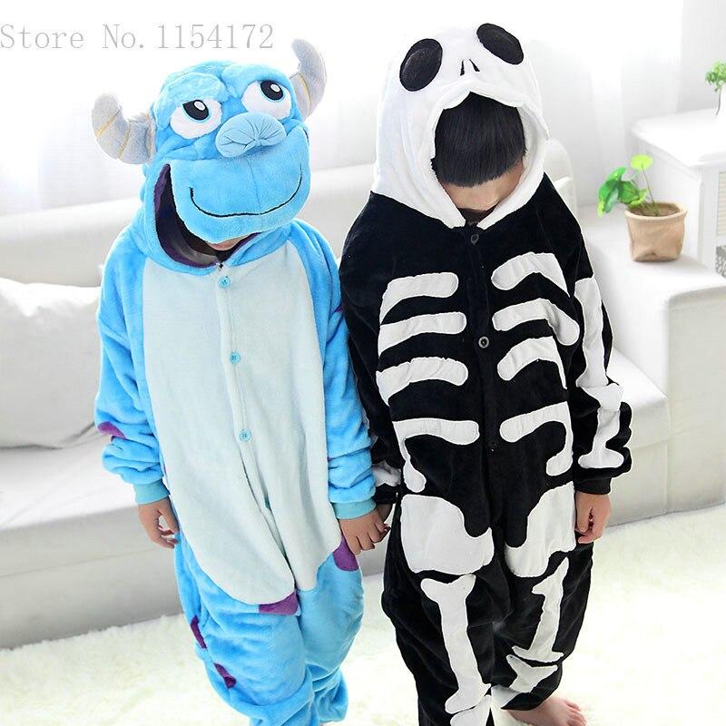 Unisex Kigurumi Clothing Skeleton & Sullivan Animal Pajamas sleepwear Jumpsuit kids clothes baby rompers Flannel Onesies costume