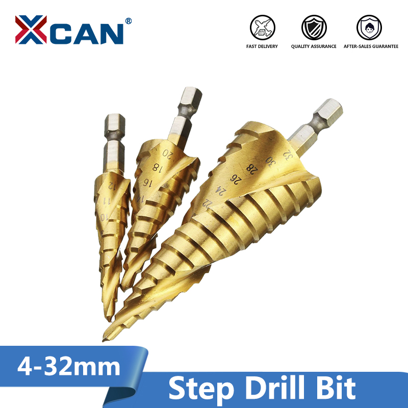 XCAN Titanium Coated Step Drill Bit 4-12/20/32mm HSS Wood Metal Drill Bit  Hex Shank Hole Cutter Core Drill Bit