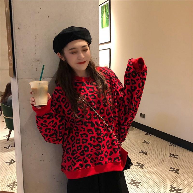 Korean Fall Casual Leopard Print Hoodies Kawaii Loose Lantern Sleeve Pullovers Streetwear Female O Neck Oversize Sweatshirt