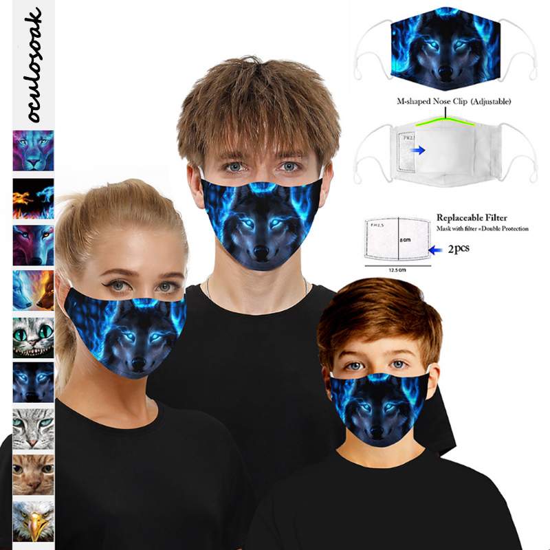 3D Digital Printed Protective  With Filter Chip Dustproof  Smog Adult For Children