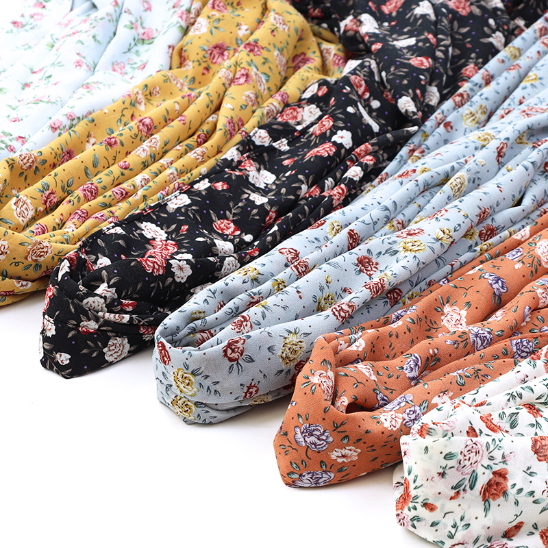 Details about  /Arab African Women Scarfs Muslim Embroidery Soft Chiffon Splicing Big Scarf