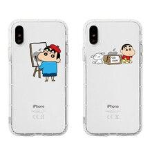 Cartoon Crayon Shin-chan originality LOGO Phone Couple Case Soft TPU For iPhone 6 6s 7 8 Plus X XS XR XSMax 11 Pro Max цена и фото