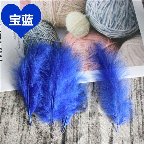 Натуральные Шлейфы 50 шт. 4-6 дюймов 10-15 см индейка перья марабу шлейф пышное свадебное платье DIY украшения аксессуары перья - Цвет: Blue