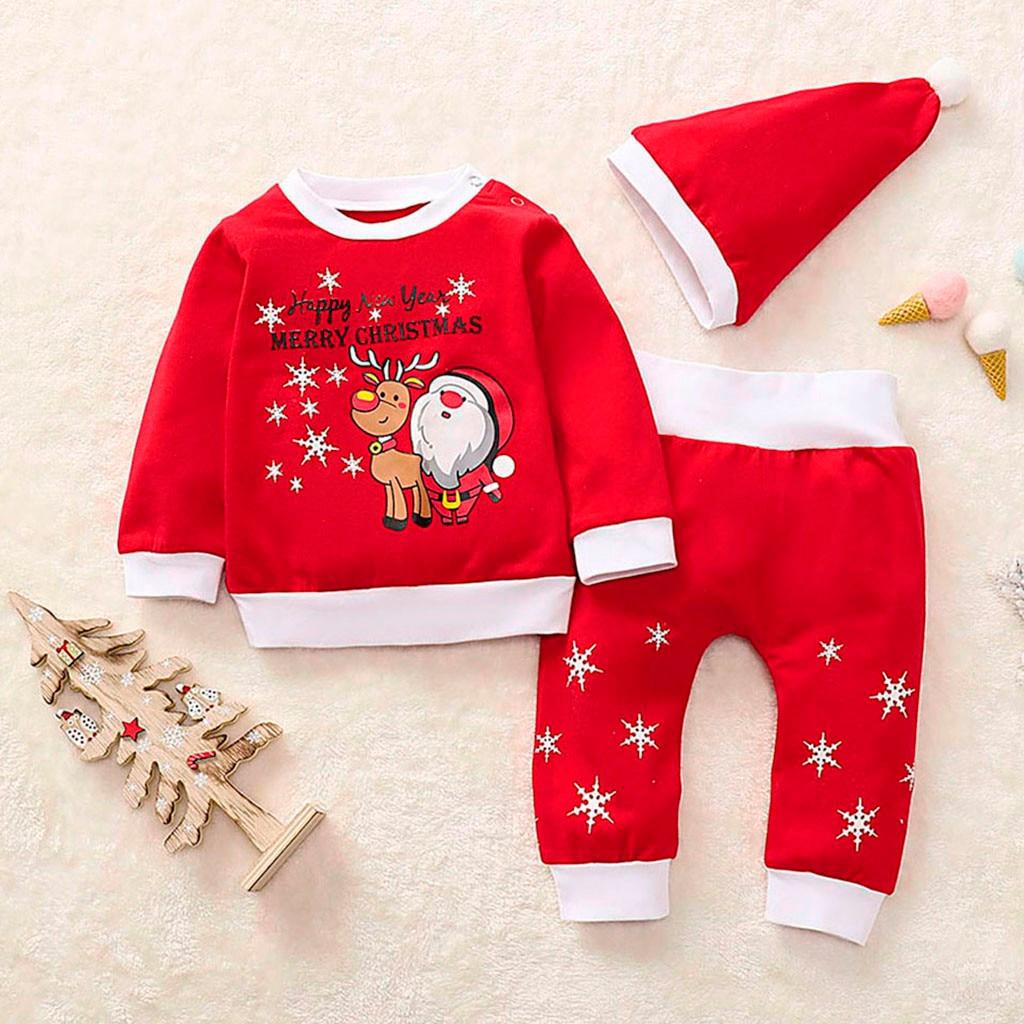 Mameluco para ni/ños Mono Traje Reci/én nacido Ni/ño Beb/é Ni/ños Dibujos animados Ciervos Tops Pantalones Pijamas de Navidad Sombrero Ropa