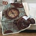 Постельное белье Outlet Compass одеяло s для кроватей карта мира 3D принт плед Ретро стиль пушистое одеяло навигационное покрывало manta