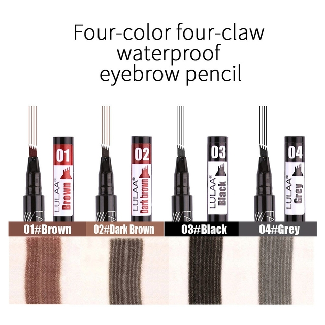 LULAA Women Makeup Sketch Liquid 4-Claw Eyebrow Pencil Waterproof Brown Eye Brow Tattoo Dye Tint Pen Liner Long Lasting Eyebrow 3