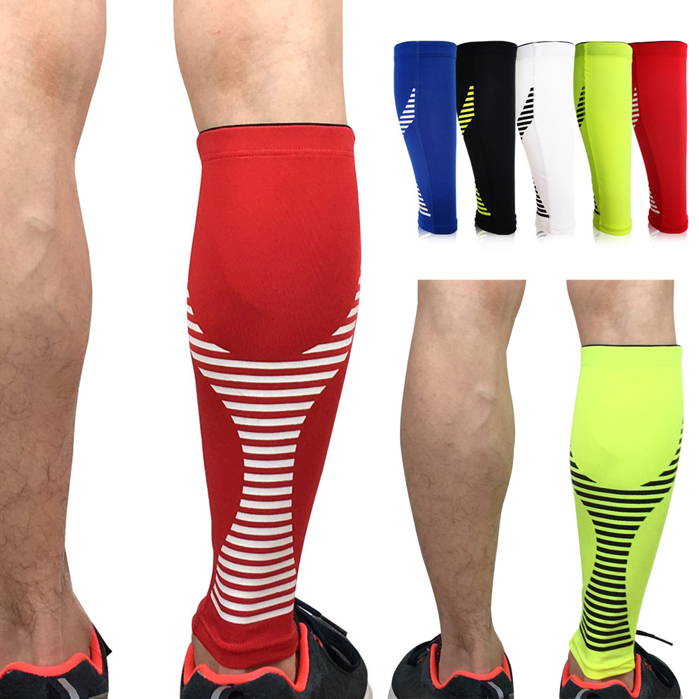 Sport Protection Leg Sleeve Calf Brace Support Sports Striped Pattern 1 Piece
