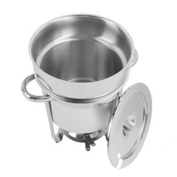 7L Large Capacity Stainless Steel Round Soup Chafer Pot Boiler Heater for Buffet Catering Kitchen Tools