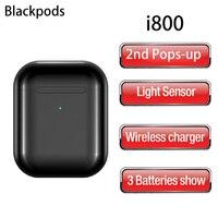 Latest Blackpods i800 Pop up Bluetooth Headsets Smart light sensor 46g Air 2 Wireless Earphones TWS 5.0 Earbuds HD Mic Headphone
