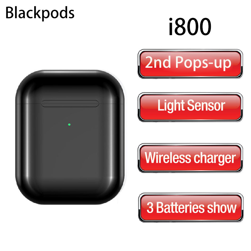 Latest Blackpods I800 Pop-up Bluetooth Headsets Smart Light Sensor 46g Air 2 Wireless Earphones TWS 5.0 Earbuds HD Mic Headphone