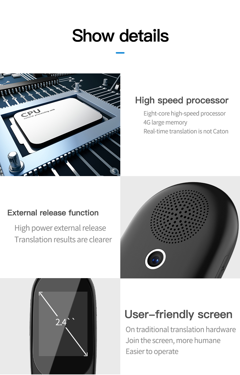 Voice and Photo Scanning Pocket Language Translator with 2.4 Inch Touch Screen and WIFI Supports 79 Languages and Offline Translation 15
