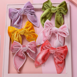 Children Velvet Bow Hair Clips For Girls Women Kids Hairpins Big Bow Ponytail Clip For Baby Girl Hair Accessories Korean Fashion