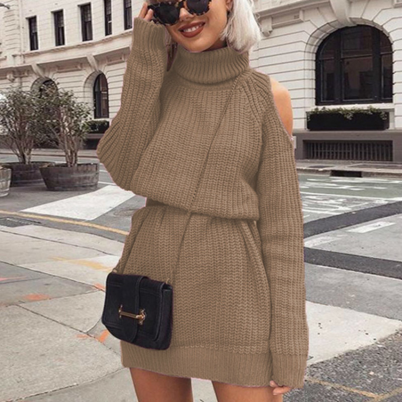 2019 Autumn Winter Turtleneck Off Shoulder Knitted Sweater Dress Women Long Section Solid Slim Plus Size Knitting Pullovers