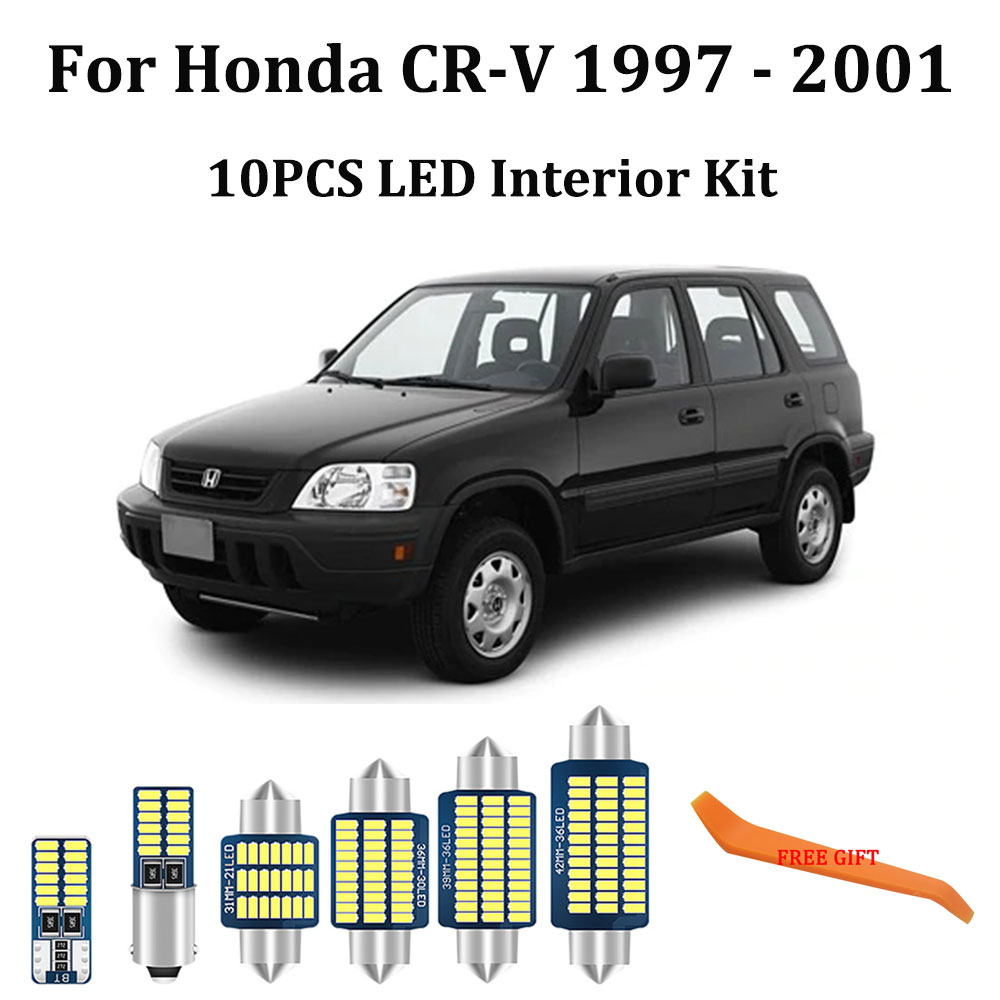 10Pcs White Canbus led Car interior lights Package Kit for <font><b>Honda</b></font> CR-V <font><b>CRV</b></font> <font><b>1997</b></font> - <font><b>2001</b></font> led interior Reading Dome Trunk lights image