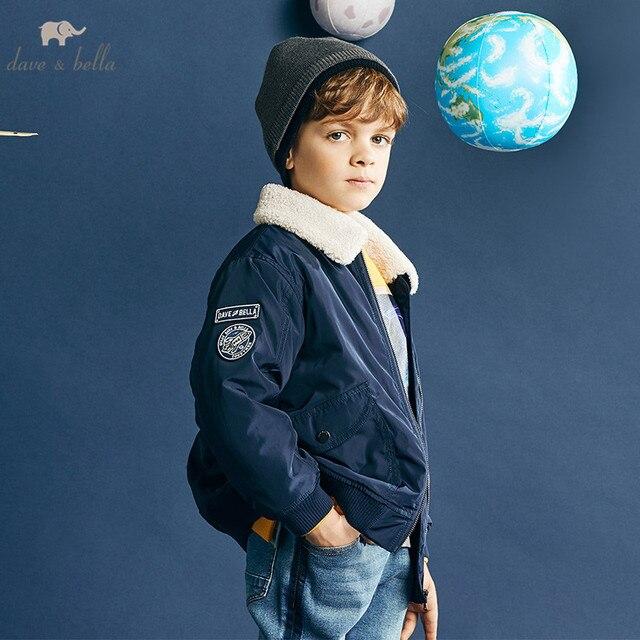 Dbk10691 데이브 벨라 겨울 아이 소년 재킷 면화 의류 어린이 겉옷 패션 해군 지퍼 코트
