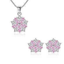 Romantic 925 Sterling Silver White/Pink Zircon Cherry Blossoms Flower Necklace+Earrings Jewelry Set For Women Choker brincos(China)