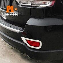 цена на 2014 2015 2016 2017 For Jeep Grand Cherokee ABS Plastic Chrome Car rear fog lamps lights Cover Trim Car Accessories Sticker 2pcs