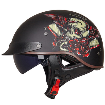 Retro Vintage Motorcycle Helmet Moto Half Helmet Open Face Scooter Biker Motorbike Riding Helmet for Men Women