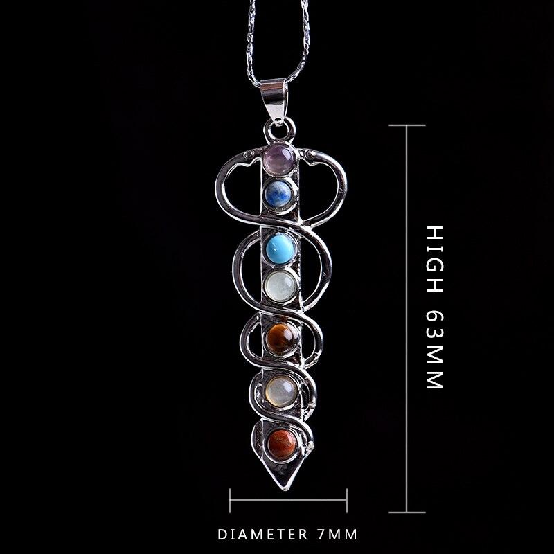 Natural 7 Chakra Stone Yoga Bohemian Life Pendant Symbol Reiki Health Amulet Necklace Pendant Jewelry