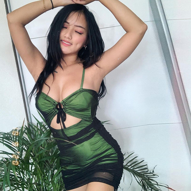 Women Sexy Black Mesh Patchwork Bodycon Mini Dress Spaghetti Strap Cut Out Green Dress Lace Up Ruched Slim Robe 2021 Summer 5