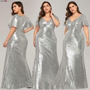 Image 5 - בתוספת גודל עלה זהב ערב שמלות ארוך פעם די EP07988RG בת ים V צוואר נצנצים ערביות רשמיות המפלגה שמלות לנגה Jurk 2020