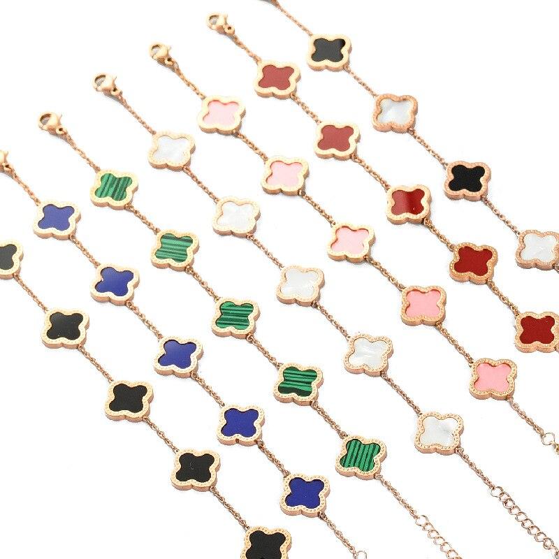Высококачественные ювелирные изделия с покрытием из розового золота, браслет известного бренда из нержавеющей стали с четырьмя листьями к...