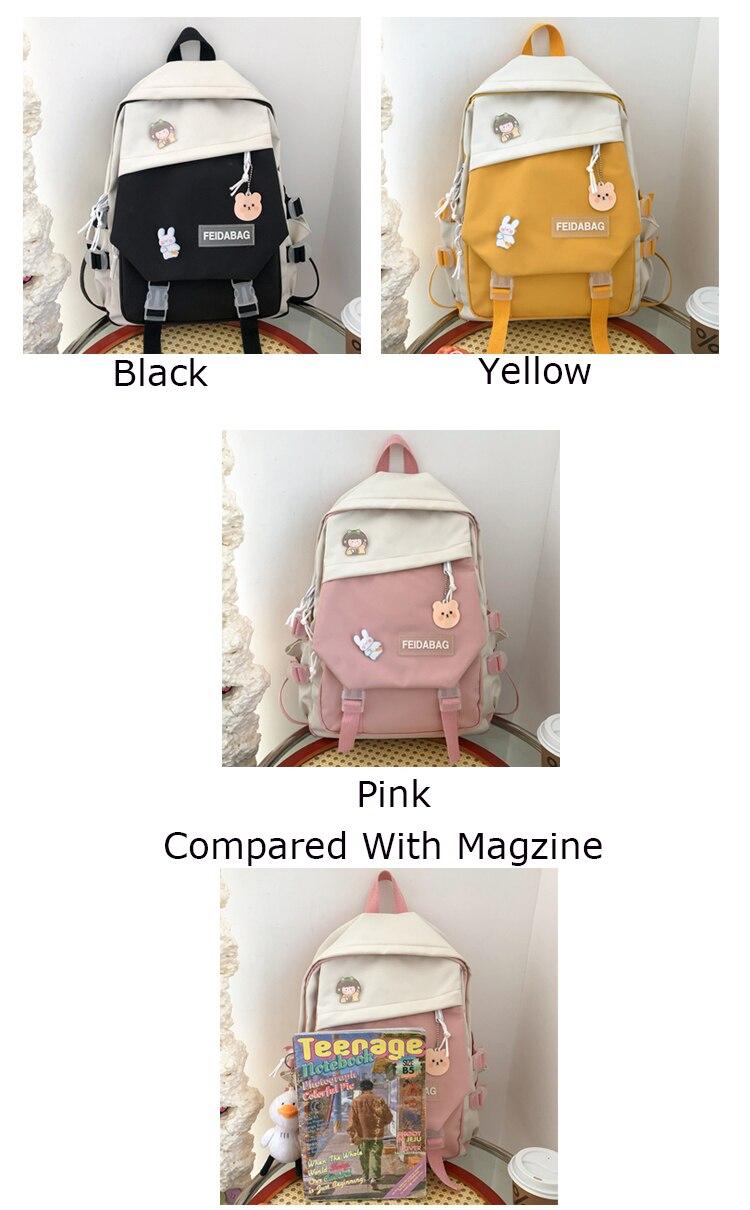 Estuaqueen nova grande capacidade kawaii retalhos bagpack
