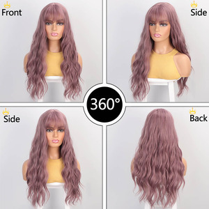 Image 2 - Aisibeauty Womens wig with Bangs Long Wavy Wigs for Women Synthetic Wigs Heat Resistant for African American Cosplay hair