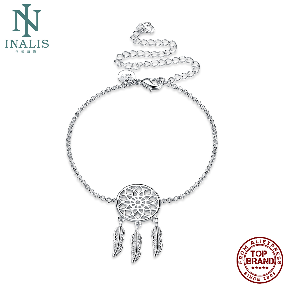 INALIS Three Feathers Anklets For Women Wholesale Round Shape Flower Pattern Anklet Prom Anniversary Jewelry Gift Best Selling