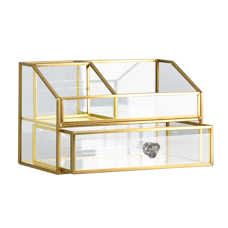 Great buy Chance of  Glass Makeup organizer 2-layers Bathroom cotton pads Cosmetic organizer with drawer jewelry Box mak
