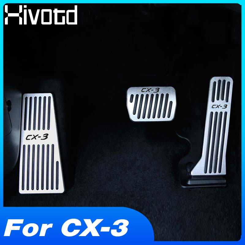Car Accelerator Brake Clutch Pedal Footrest Pedal Plate Cover <font><b>Accessories</b></font> For <font><b>Mazda</b></font> CX3 CX-<font><b>3</b></font> CX <font><b>3</b></font> accesorios 2017 <font><b>2018</b></font> 2019 2020 image