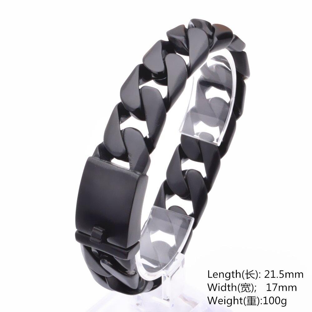 Панк мужской браслет черный браслет из цепочки 316L браслет из нержавеющей стали для мужских ювелирных изделий Прямая поставка Оптовая Продажа 17 мм