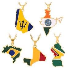 HIP Hop mapa kraju wisiorek flaga naszyjniki kobiety złoty kolor indie Barbados gujana Mali brazylia wisiorek biżuteria etniczna