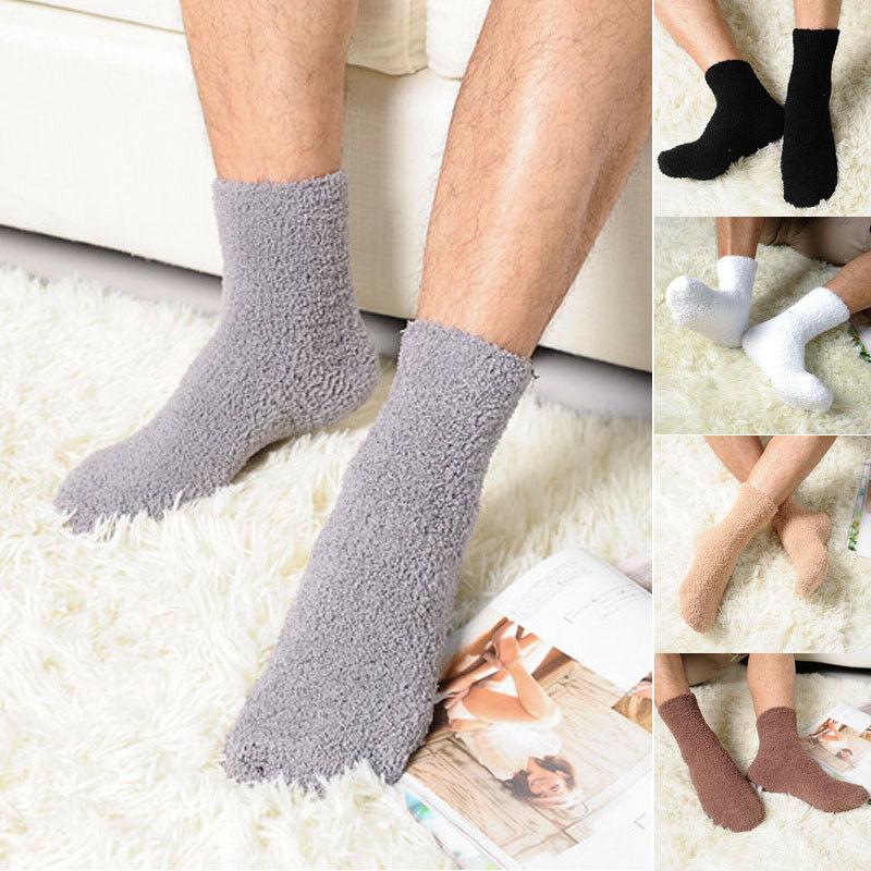 Newest Solid Color Men Warm Thicken Coral Fleece Socks Fluffy Sleep Bed Sock 2019 Wimter Warm Floor Socks Non-slip Towel Socks