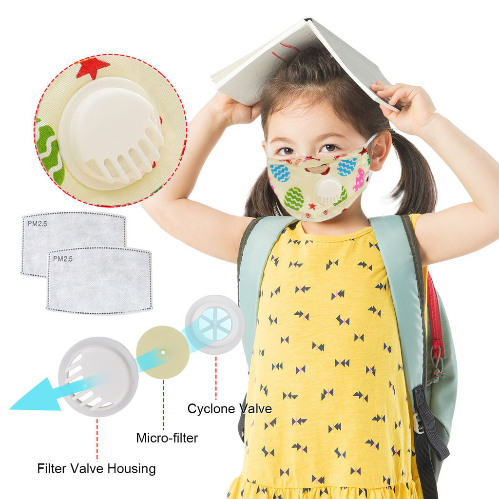 Children Mask Breathable Printed Valve Haze Pollution Anti-Radiation Filter Dustproof Mask Mouth-muffle Mascarillas Respirator