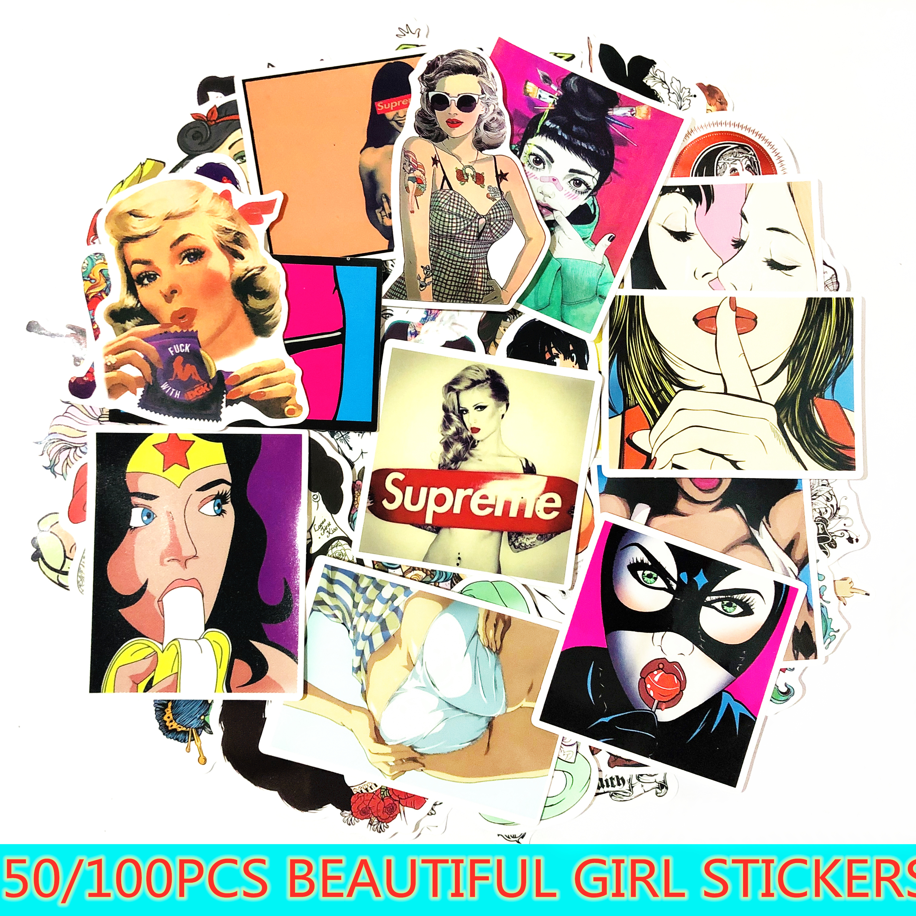 50/100 Pcs Cartoon doodling Pvc Waterproof Sexy Beauty Girls Stickers For Laptop Skateboard Luggage Decal Office Toy Appliances-in Stickers from Toys & Hobbies