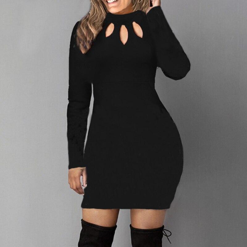 Bodycon Dress Women Long Sleeve Solid Color Dresses Spring Autumn Sexy Hollow Out Round Neck Black Mini Dress Cotton S M L 5XL 10