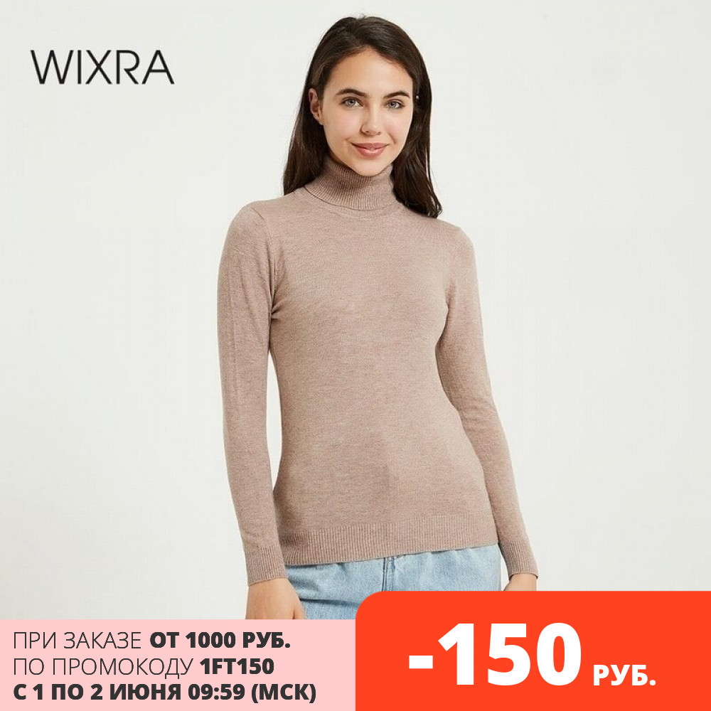 Wixra Knitting Sweater and Jumper Turtleneck Tops Pullovers Casual Sweaters Womens Long Sleeve All match Elastic Sweater